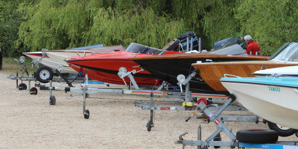 Classic boats in storage