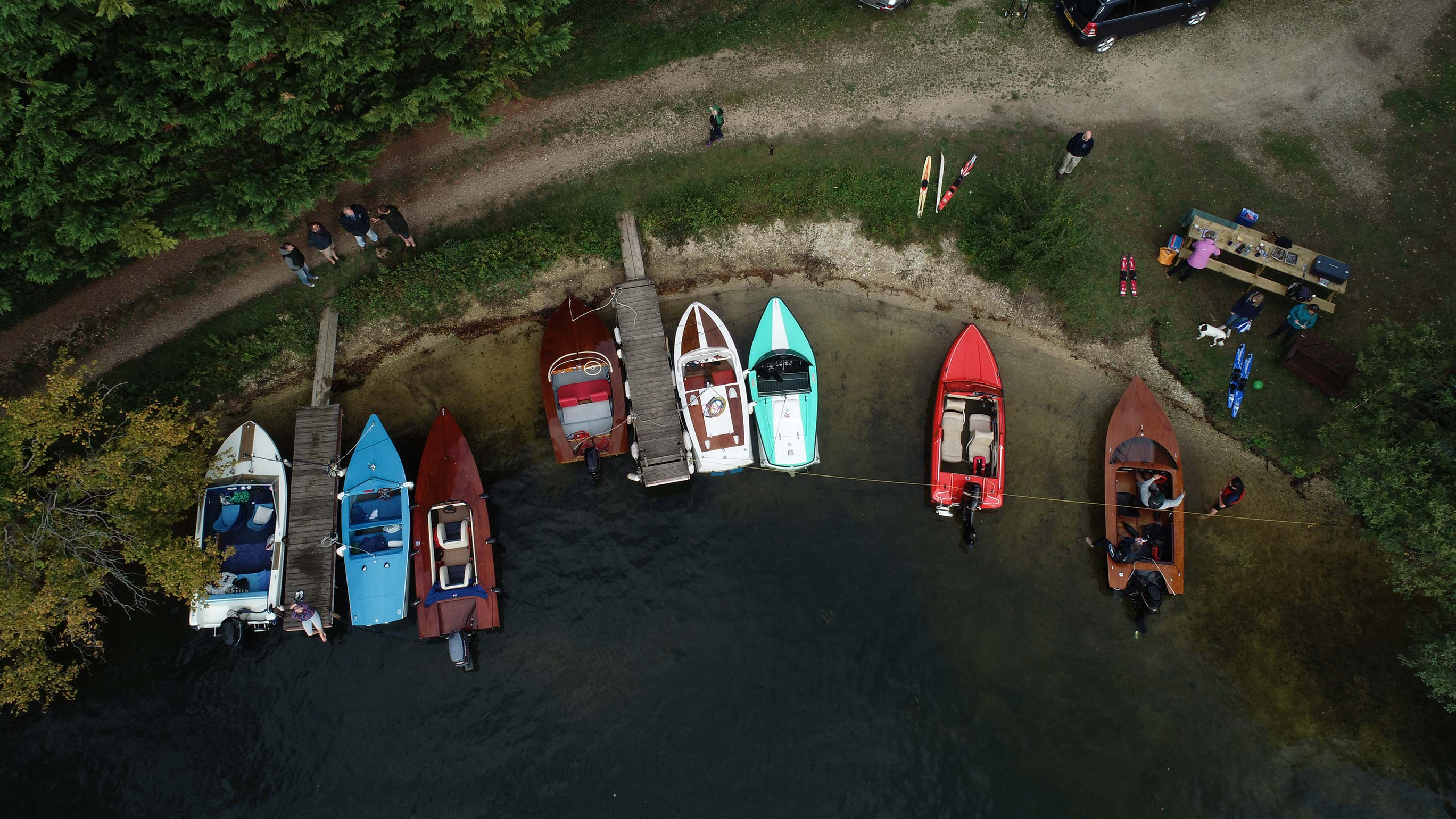 Aerial shot of boats