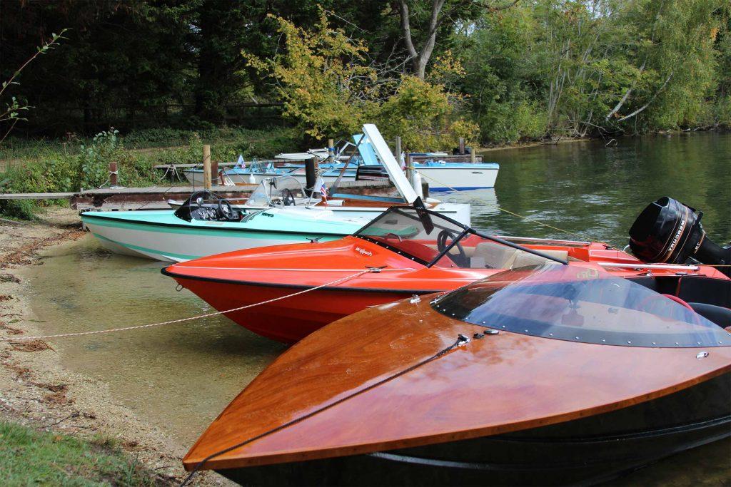 Classic boats docked