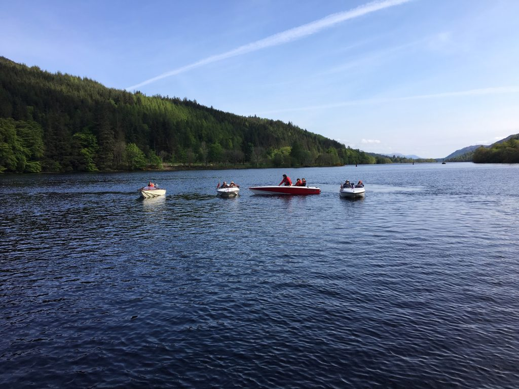 Classic speedboats at Loch Ness CMBA Caledonian Canal Rally