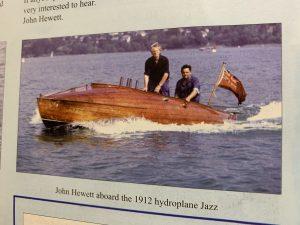 John Hewett abord the 1912 Hydroplane Jazz